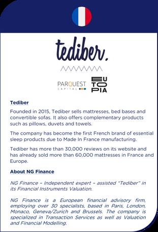 NG Finance a assisté Tediber dans sa valorisation d'instruments financiers