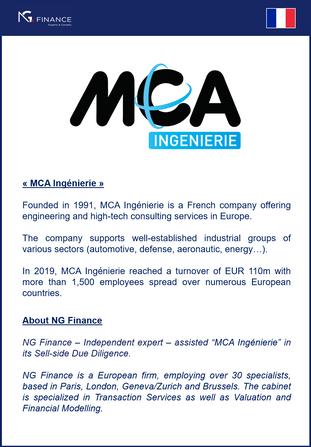 """NG Finance a assisté """"MCA Ingenierie"""" dans la Vendor Due Diligence."""