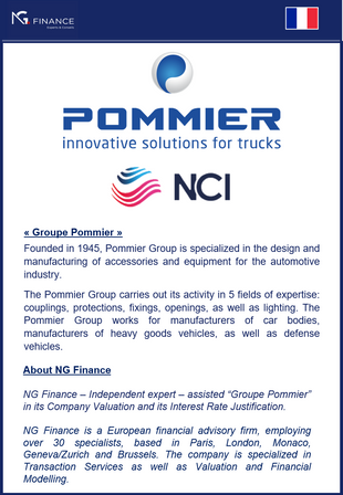 NG Finance assisted Pommier Group