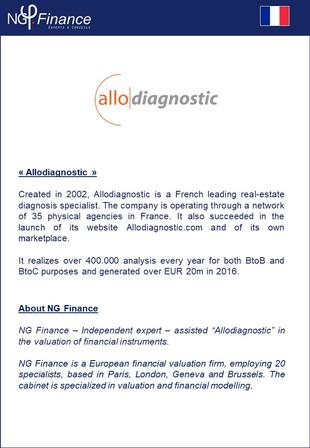 Allodiagnostic - NG Finance a accompagné la société dans la valorisation de certains instruments fin