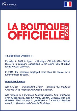 """NG Finance a assisté la société """"La Boutique Officielle"""" dans sa valorisation d'instrument"""