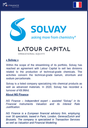 """NG Finance assisted """"Solvay"""" in its Financial Instruments Valuation."""