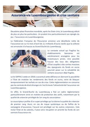 Assurance-vie Luxembourgeoise et crise sanitaire vu par Jules Nicou
