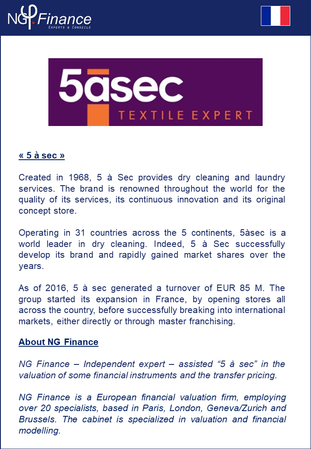 5 à Sec - NG Finance a accompagné la société dans la valorisation de certains instruments financiers