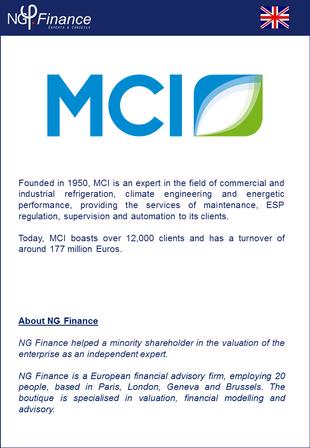 MCI - NG Finance a accompagné la société dans sa valorisation