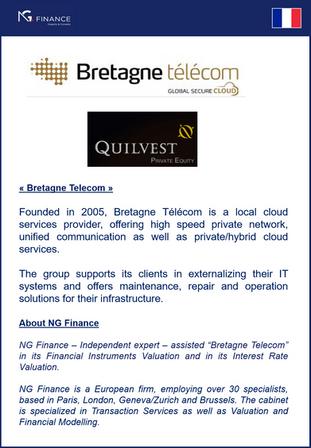 """NG Finance a assisté la société """"Bretagne Telecom"""" dans sa valorisation d'instruments"""