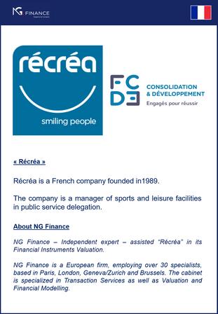 """NG Finance a assisté  """"Récréa"""" dans sa Valorisation d'Instrument Financiers"""