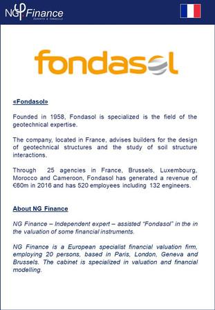 Fondasol - NG Finance a accompagné la société dans la valorisation d'instruments financiers