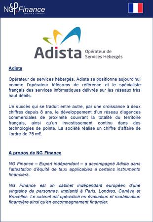 Adista - NG Finance a attesté l'équité de taux d'intérêts applicables à certains instruments