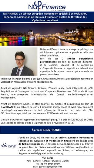 Nomination de Ghislain D'OUINCE en tant que Directeur des Opérations