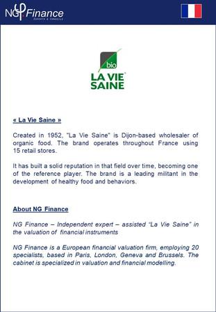 La Vie Saine - NG Finance a accompagné la société dans la valorisation de certains instruments finan