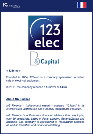 """NG Finance assisted """"123elec"""" in its Financial Instruments Valuation and its Interest Rate"""