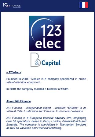 """NG Finance a assisté la société """"123elec"""" dans sa valorisation d'instruments financier"""