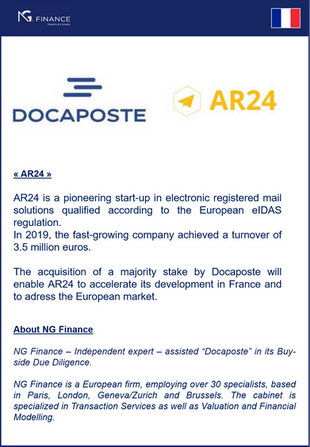 "NG Finance assisted ""Docaposte"" in its Buy-side Due Diligence."