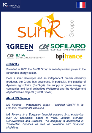 NG Finance assisted Sun'R in its Financial Instruments Valuation