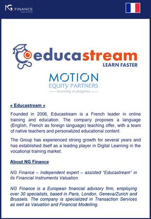 """NG Finance a assisté """"Educastream"""" dans sa valorisation d'instruments financiers."""