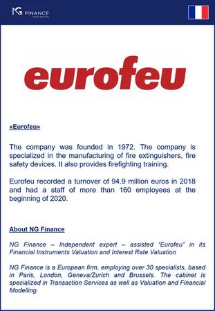 """NG Finance a assisté la société """"Eurofeu"""" dans sa valorisation d'instruments financier"""