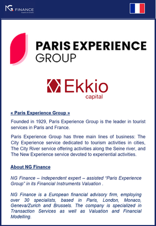 NG Finance assisted Paris Experience Group in its Financial Instruments Valuation