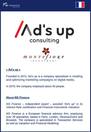 """NG Finance a assisté la société """"Ad's up Consulting"""" dans sa valorisation d'instru"""
