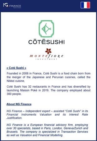 """NG Finance a assisté """"Coté Sushi"""" dans sa valorisatoin d'instruments financiers."""