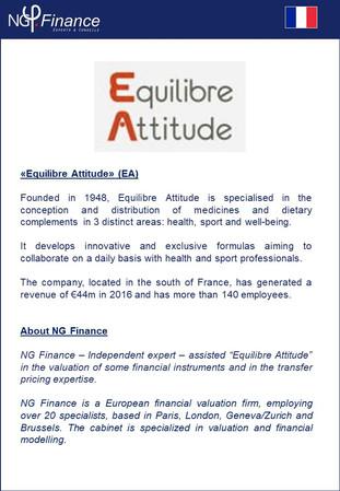 Equilibre Attitude (EA) - NG Finance a accompagné la société dans la valorisation d'instruments