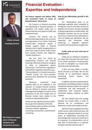 Olivier SCHWAB, founding partner, highlights the firm's expertise in the latest edition of the m