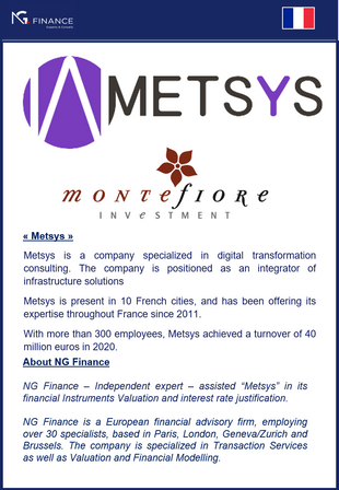 """NG Finance assisted """"Metsys"""" in its Financial Instruments Valuation."""