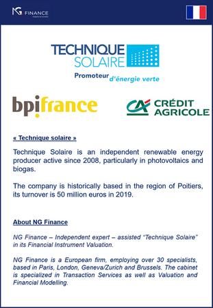 NG Finance a assisté Technique Solaire dans sa valorisation d'instruments financiers.