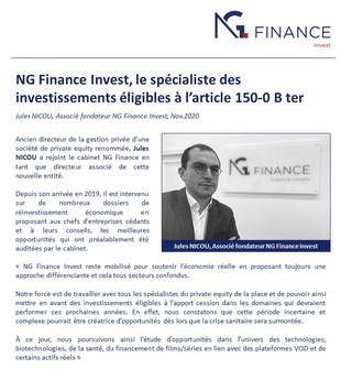 NG Finance Invest, le spécialiste des investissements éligibles à l'article 150-0 B ter