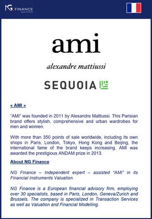 """NG Finance a assisté """"AMI Paris"""" dans sa valorisation d'instruments financiers."""