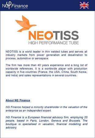 Neotiss - NG Finance a accompagné la société dans sa valorisation