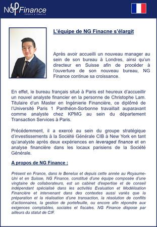 NG Finance est ravi d'accueillir un nouveau membre !