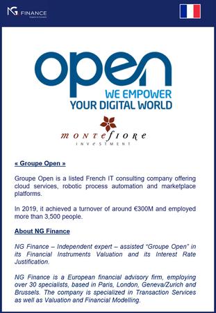 """NG Finance a assisté """"Groupe Open"""" dans sa valorisation d'instruments financiers."""