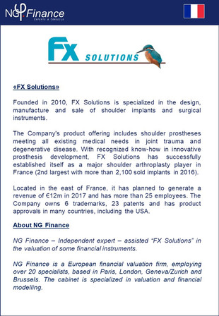Fx Solutions - NG Finance assisted the company la société Fx Solutions in Financial Instruments Valu