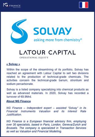 "NG Finance a assisté ""Solvay"" dans sa valorisation d'instruments financiers."
