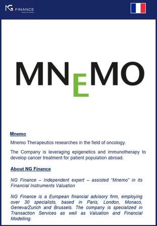 NG Finance a assisté Mnemo dans sa valorisation d'instruments financiers