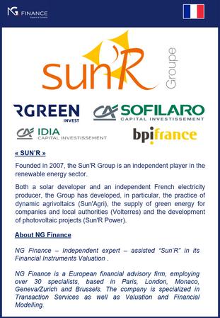 NG Finance a assisté Sun'R dans sa valorisation d'instruments financiers