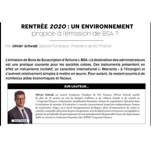 Rentrée 2020 : Un environnement propice à l'émission de BSA ?