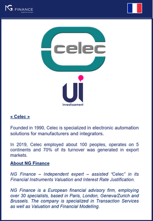 "NG Finance assisted ""Celec"" in its Financial Instruments Valuation and its Interest Rate J"