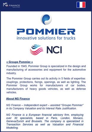 NG Finance a assisté Pommier dans sa valorisation d'entreprise et justification de taux d'intérêt