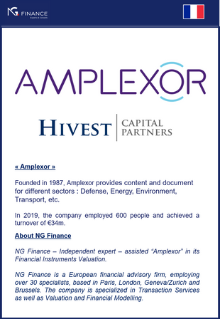 "NG Finance assisted ""Amplexor"" in its Financial Instruments Valuation."