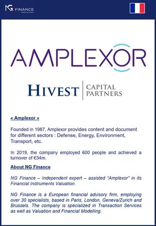 "NG Finance a assisté ""Amplexor"" dans sa valorisation d'instruments financiers."