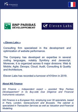 """NG Finance a assisté Bnp Paribas Développement"""" dans sa Buy-side Due Diligence et """"Eleven Labs"""