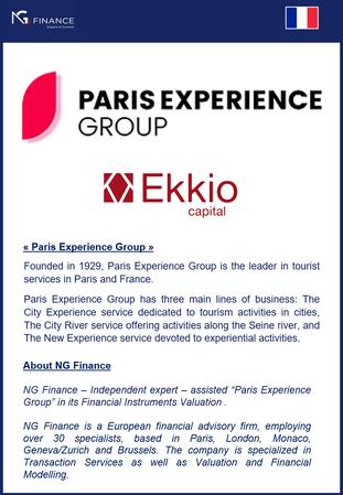 NG Finance a assisté Paris Experience Group dans sa valorisation d'instruments financiers