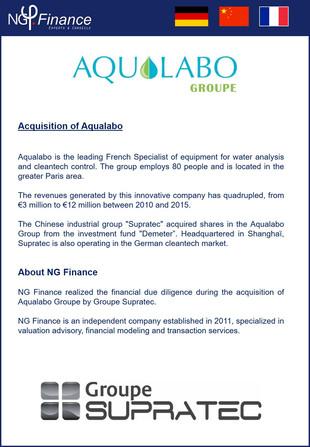 M&A - NG Finance a réalisé la due diligence financière lors de l'acquistion d'Aqualabo p