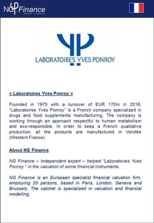 Laboratoires Yves Ponroy - NG Finance a accompagné la société dans la valorisation de certains instr