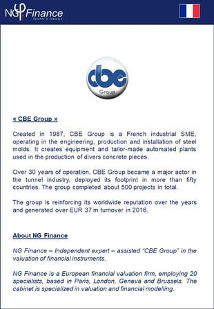 Group CBE - NG Finance a accompagné la société dans la valorisation de certains instruments financie