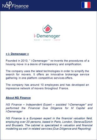 i-Demenager - NG Finance a accompagné la société dans la due diligence financière