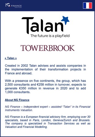 "NG Finance assisted ""Talan"" in its Financial Instruments Valuation"