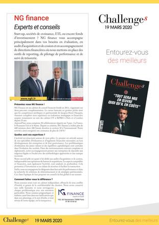 NG Finance a l'honneur d'apparaître dans la dernière édition du Magazine Challenges.
